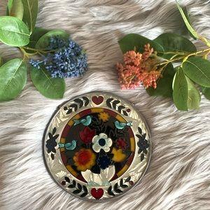 Round stained glass flowers & birds sun catcher